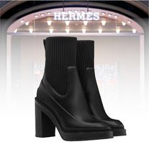 HERMES Rubber Sole Casual Style Plain Ankle & Booties Boots