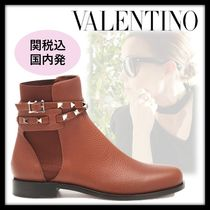 VALENTINO Round Toe Studded Leather Ankle & Booties Boots