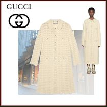 GUCCI Cable Knit Wool Blended Fabrics Long Sleeves Long Oversized