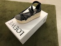 LOEWE GATE Open Toe Plain Leather Elegant Style