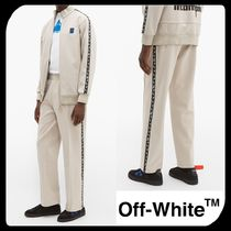 Off-White Tapered Pants Plain Cotton Tapered Pants