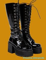 UNIF Clothing Platform Round Toe Lace-up Casual Style Plain Lace-up Boots