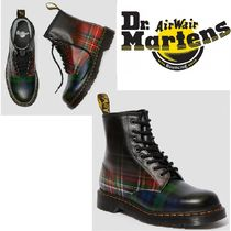 Dr Martens 1460 Tartan Open Toe Rubber Sole Lace-up Casual Style Leather