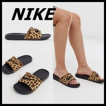 Nike Leopard Patterns Faux Fur Blended Fabrics Sport Sandals