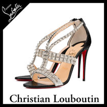 Christian Louboutin Open Toe Blended Fabrics Studded Other Animal Patterns