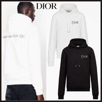 Christian Dior Pullovers Street Style Long Sleeves Plain Cotton Hoodies