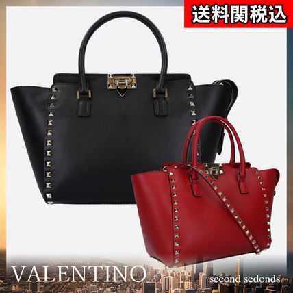 Casual Style Calfskin Studded 2WAY Plain Handbags