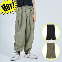 OPEN THE DOOR Unisex Street Style Plain Cotton Cargo Pants