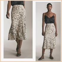 Massimo Dutti Leopard Patterns Medium Elegant Style Midi Skirts