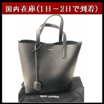 Saint Laurent Unisex Street Style A4 2WAY Plain Leather Totes