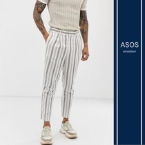 ASOS Tapered Pants Stripes Blended Fabrics Street Style Cotton