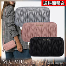 MiuMiu Plain Leather Party Style Crossbody Small Shoulder Bag Logo