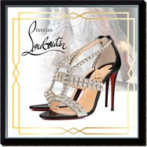 Christian Louboutin Open Toe Blended Fabrics Studded Plain Other Animal Patterns