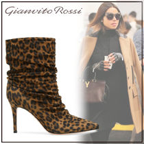 Gianvito Rossi Leopard Patterns Suede Pin Heels Elegant Style