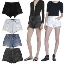 Short Casual Style Denim Plain Denim & Cotton Shorts