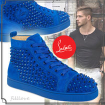 Christian Louboutin LOUIS Suede Studded Street Style Plain Handmade Sneakers