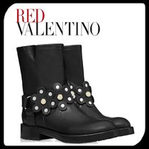 RED VALENTINO Flower Patterns Round Toe Rubber Sole Plain Leather