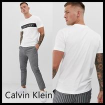 Calvin Klein Crew Neck Street Style Bi-color Cotton Short Sleeves