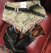 One Teaspoon Short Camouflage Leopard Patterns Casual Style Denim Khaki