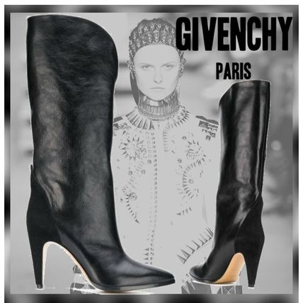 GIVENCHY 2018 19AW Plain Leather Pin Heels Elegant Style High Heel Boots