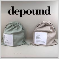 depound Blended Fabrics Plain Pouches & Cosmetic Bags