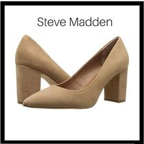 Steve Madden Plain Leather Office Style Chunky Heels