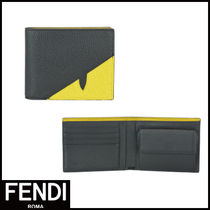 FENDI BAG BUGS Unisex Calfskin Folding Wallets