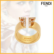 FENDI Brass With Jewels Elegant Style Rings