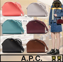 A.P.C. Unisex Street Style Plain Leather Shoulder Bags