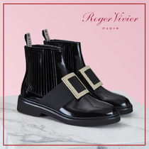 Roger Vivier Plain Toe Rubber Sole Enamel Blended Fabrics Plain