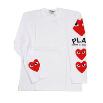 COMME des GARCONS Crew Neck Heart Street Style Long Sleeves Cotton