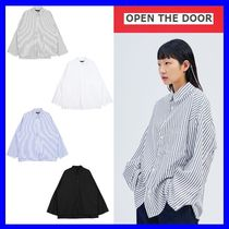 OPEN THE DOOR Casual Style Street Style Long Sleeves Oversized