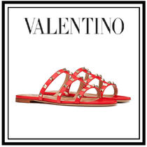 VALENTINO Open Toe Casual Style Studded Plain Leather Espadrille Shoes