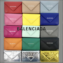 BALENCIAGA PAPIER A4 Unisex Plain Small Wallet Folding Wallets