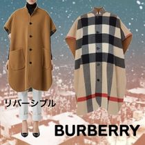 Burberry Tartan Wool Plain Long Oversized Ponchos & Capes
