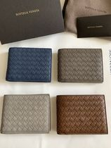 BOTTEGA VENETA Unisex Plain Leather Folding Wallets