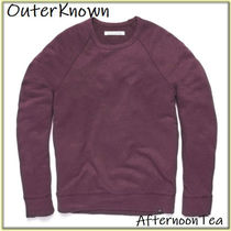 Outer known Crew Neck Pullovers Linen Long Sleeves Plain Handmade
