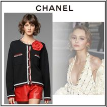 CHANEL Cable Knit Other Check Patterns Casual Style Cashmere