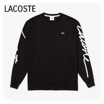 LACOSTE Crew Neck Unisex Long Sleeves Plain Cotton