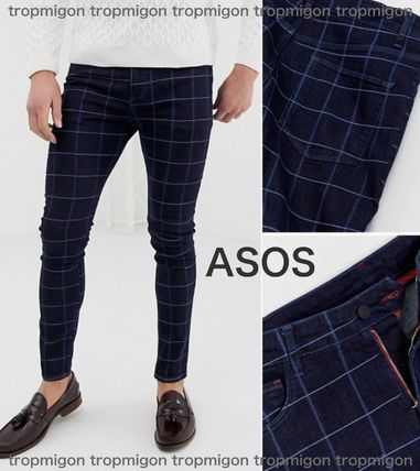 Other Check Patterns Denim Men Skinny Pants