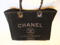 CHANEL DEAUVILLE Casual Style Blended Fabrics A4 Chain Totes