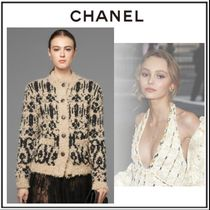 CHANEL Cable Knit Casual Style Wool Long Sleeves Long Knitwear