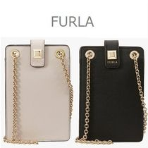 FURLA MIMI Plain Leather Smart Phone Cases