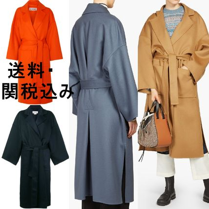 Wool Plain Long Oversized Coats