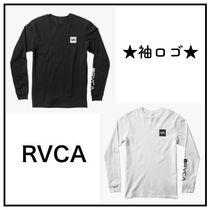 RVCA Crew Neck Unisex Long Sleeves Cotton Logos on the Sleeves