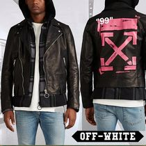 Off-White Plain Leather Biker Jackets
