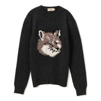 MAISON KITSUNE Pullovers Wool Long Sleeves Other Animal Patterns Designers