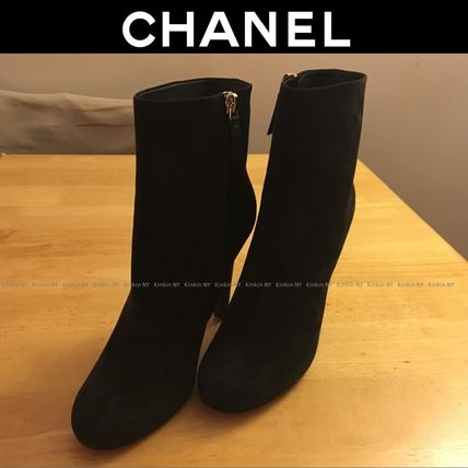 CHANEL Ankle & Booties Round Toe Suede Blended Fabrics Pin Heels Elegant Style 5