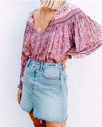 Flower Patterns Paisley Casual Style Medium Puff Sleeves