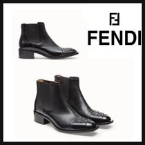 FENDI Plain Toe Unisex Street Style Leather Engineer Boots